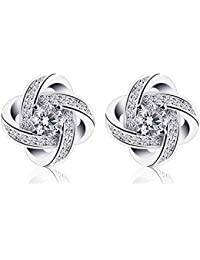 84994dc5599fad Moneekar Jewels Women Piecered Stud Earrings Rose Gold or Silver Plated  AAAAA Cubic Zirconia Valentines Gifts