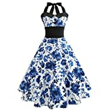 VEMOW Elegante Damen Damen Vintage Bodycon Sleeveless Halter beiläufige Tanzabend Party Prom Brautjungfern Swing Dress Faltenrock Cocktailkleid(Weiß 4, EU-36/CN-S)