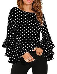 c663f310b6 Blusa de Mujer con Volantes de Manga Larga Camiseta de Lunares Elegantes  Tops Casuales