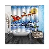 AmDxD Polyester Duschvorhang Santa Claus Design Badewannenvorhang Bad Vorhang Weiß für Badezimmer Waschbar 150x200CM