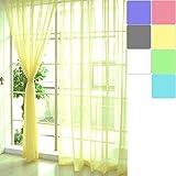 LianLe Gardinen Vorhang Schlaufenschal Dekoschal Transparent 100 * 200 cm Farbig für Wohnzimmer Hochzeit Party Deko (Gelb)