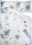 DESIGNERS GUILD Wendebettwäsche Acanthus Indigo Perkal grau-Rauchblau-weiß Größe 135x200 cm (80x80 cm)