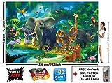 papier peint chambre d'enfants animaux peinture murale décoration murale jungle animaux du zoo nature safari aventure tigre lion éléphant et singe | murale photo mur deco chez GREAT ART (336 x 238 cm)