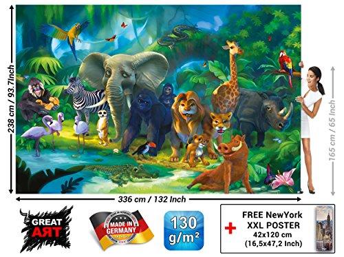 GREAT ART Foto Mural Infantil Animales de la Selva Decoración Jungla Póster...