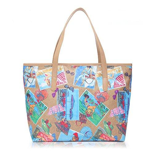 Lovelife2015, Borsa a mano donna Multicolore Multicolore Multicolore (marrone)
