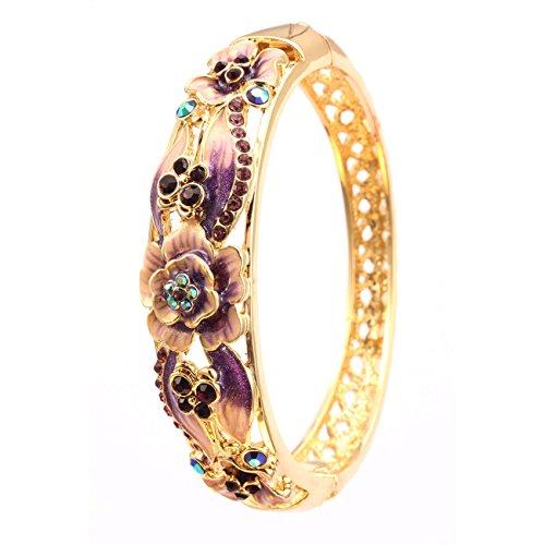 City Ouna® Elementi di Swarovski qualità in lega placcato 18k braccialetto etnico turchese Bracciale Bangle ampia per donne gioielli regalo con zirconi viola cristallo (Cloisonne34-1)