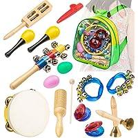 Instrumentos Musicales Infantiles para Niños con zaino Pack Preescolar de 15 pcs, Smarkids Strumenti educativi para aprendizaje de Percusión Musical y Ritmo Corporal. Set de panderetas y percusión