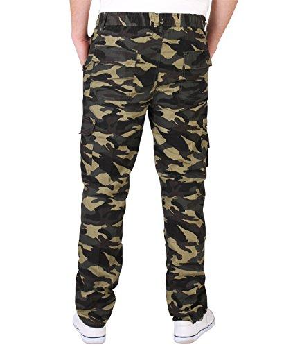 Herren Cargo Combat Camouflage Hose Khaki 7919
