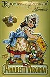 Virginia bambina soggetto Amaretti scudo latta metallo Tin Sign 20 x 30 cm