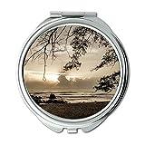 Yanteng Spiegel, Compact Mirror, Bucht Strand schwarz und weiß, Taschenspiegel, tragbarer Spiegel