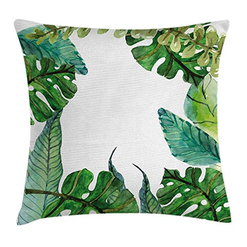 GONIESA Leaf Throw Pillow Cushion Cover by, Watercolor Print Garden Botanical Herbal Forest Leaves Image, Decorative Square Accent Pillow Case, 18 X 18 Inches, Turquoise Dark Green and Apple Green
