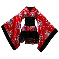 FENICAL Kimono Japonés de Cerezo Disfraz de Lolita Mucama Anime Cosplay Vestido para Halloween Carnaval Foto Prop Talla XXL (Rojo)