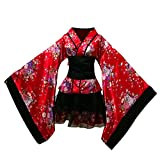 FENICAL Donne Cherry Blossoms Anime Cosplay Lolita Dress Kimono Giapponese Costume Abiti Vestiti Costume di Halloween Taglia XL (Rosso)