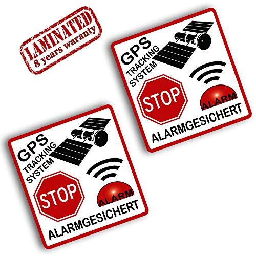 SkinoTM 2 Stück Vinyl Aufkleber Autoaufkleber Stickers GPS Tracking System Stop Alarm Alarmanlage Alarmgesichert Auto Motorrad Fahrrad Tuning B 113