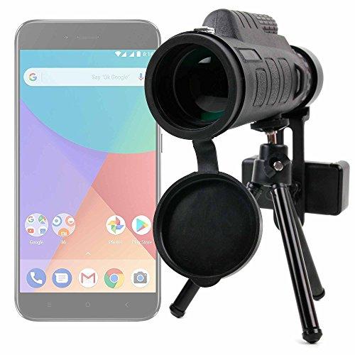 DURAGADGET Monóculo, zoom, objetivo, lente, telescopio para Smartphone Xiaomi Mi A1. ¡Trípode + funda + adaptador + gamuza + correa + brújula incluidos!