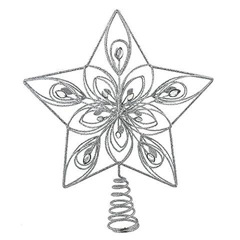 Glitter silber 5Point Star Christbaumspitze–mit Kristall Detail–26cm