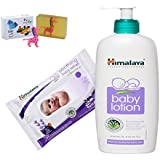 Himalaya Herbals Baby Lotion (400ml)+Himalaya Herbals Soothing Baby Wipes (24 Sheets) With Happy Baby Luxurious Kids Soap With Toy (100gm)