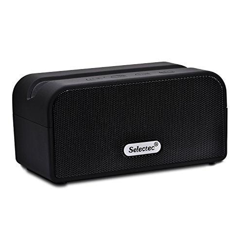 SELECTEC Tragbarer Bluetooth Lautsprecher Portable Bluetooth Lautsprecher Mini Wireless Speaker für Apple iPad iPhone , Smartphones, Samsung Galaxy Tab, Google Nexus, Lenovo Tab, Kabellos Bluetooth Boxen + Ständer Halter für Handys, Integrierte Mikrofon, Schwarz