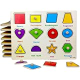 Wooden Geometric Shapes Puzzle Picture Board With Knobs Learning Educational Toys For Kids