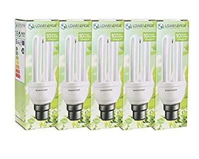 11W (=60W) Energy Saving CFL Light Bulbs, B22 B22d BC Bayonet Cap, Stick, 10 Years by Lowenergie [Energy Class A] from Lowenergie