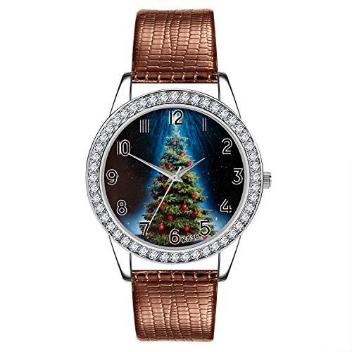 Ears Uhr Christmas Uhr Damen Weihnachten Armbanduhr Damen-Uhr Frauen Uhr Weihnachten Diamant Lederband Analog Quarz Vogue Armbanduhren
