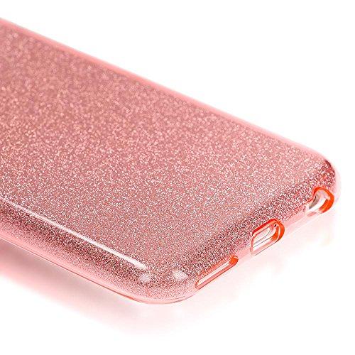 iPhone 6 6S Coque Silicone de NICA, Ultra-Fine Glitter Housse Protection Slim Case Paillettes Cover Souple, Etui TPU Gel Strass Bumper Mince pour Telephone Portable Apple iPhone 6S 6 - Arc En Ciel Rose Pink