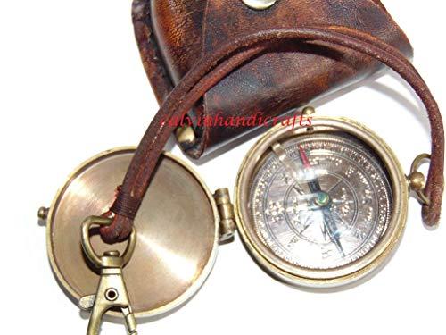 Calvin Kunsthandwerk Liebeskurs Gravierter Kompass | Messingkompass mit Lederkoffer antiker nautischer Kompass für Geschenke 1885 London Pocket Compass, Camping, Wandern