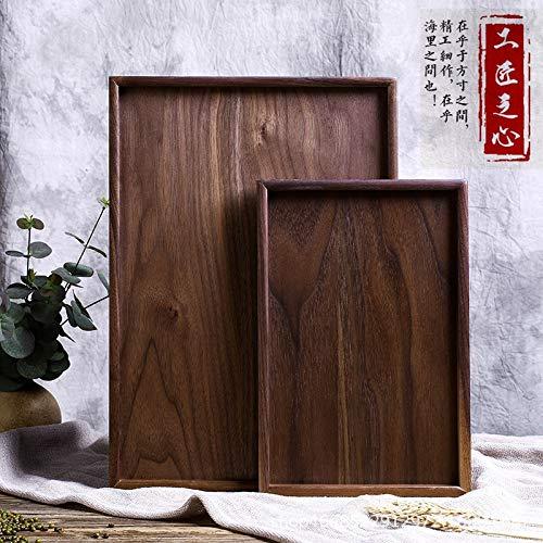 Woodenliving Massivholztablett Schwarzes Walnuss Rechteckiges Tablettbrot Frühstückssnackschale Hotelrestaurant Massivholz, 40Cm * 28Cm * 2Cm -