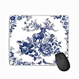 Mouse Pad Silk Scarf floral wild Animal Deer Vintage Design Shawl Roses Silk Scarf floral wild Animal Fashion Rectangle Rubber Mousepad 11.81 X 9.84 Inch