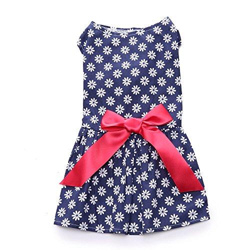 Hawkimin Haustier Kleid, Floral Bedruckte Bowknot Band Entzückende Polyester Prinzessin Kleider Hündchen Weste Rock Hochzeit Urlaub Kostüm Bekleidung