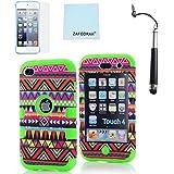 ZAFOORAH ®étui étui pour Apple iPod Touch 4 4ème Génération Plusieurs modèles +Gratuit Stylet+Protection D'écran+Chiffon En Microfibre - Antichoc Tribal Design - 3 Couches - VERT