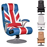 FineBuy Soundchair SPENCER Gaming Chair UK Union Flag Multimediasessel Musik Rocker mit eingebautem Soundsystem Sessel mit Lautsprecher & Subwoofer Music mit Armlehnen und Standfuß