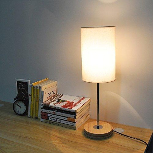 TOYM UK Lampe de bureau de chambre nordique style japonais simple lampe de chevet de bureau en tissu moderne en bois