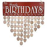 FORD KING Familiengeburtstagskalender, Holz-Handwerk, Wand-Hängeschild für Familie und Freunde, Geburtstags-Erinnerung, mit 50 Stück Holz-DIY-Scheiben, einzeln aufhängbar