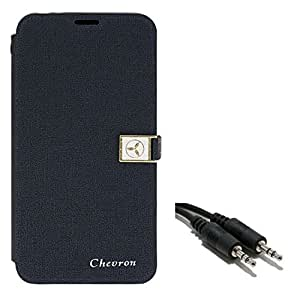 Chevron Royal Armour Flip Cover With Stand Mode for Moto G 2nd Generation with Aux Cable (Blue)