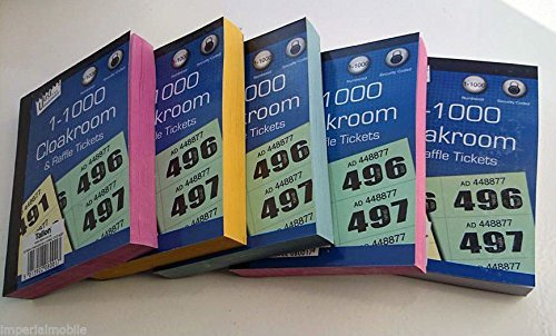 6x Books of Cloakroom and Raffle Tickets - 1 -1000 Tombola Draw Numbered Charity Events Prize Draw Lucky Draw