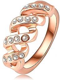Soxid(TM) 2016 Nuevo dise?o del tornillo de la forma de los anillos del anillo de oro de Rose plateado real de compromiso de cristal austriaco joyas de moda Ri-HQ0130