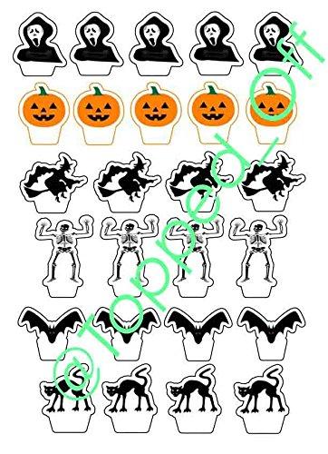 26 x grusel Halloween gemischt essbaren Kuchendeckel Dekorationen