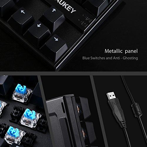 AUKEY Mechanische Tastatur Blue Switches 88-Key Anti-Ghosting ( QWERTZ Layout ) Wasserdicht Gaming Tastatur Metall Platte mit Tastenkappen-Abzieher für PC und Laptop Gamer - 2