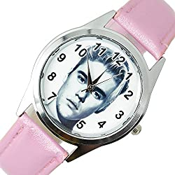 TAPORT® JUSTIN BIEBER Quartz ROUND Watch PINK Real Leather Band +FREE SPARE BATTERY+FREE GIFT BAG