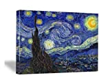 Wieco Art - Starry Night by Van Gogh Famous Oil Paintings Reproduction Modern Giclee Canvas Prints Artwork Abstract Landscape Pictures Printed on Canvas Wall Art for Home Office Decorations - Wieco Art - amazon.co.uk