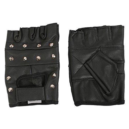 Guantes de motorista sin dedos - Tachonados - Cuero - S - 7cm - 7.5cm