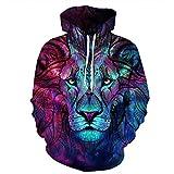 TING Impresion Digital Color león 3D Hooded Sweater el otoño y el Invierno de los Hombres de Gran tamaño Sportswear,5XL.