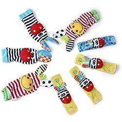 Edealing 2SET brillante bebé infantil Kids Lamaze suave muñeca calcetines del pie del juguete buscador Rattle Manos alza