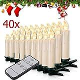 Miafamily, set di candele natalizie con 20 o 60 LED, senza fili, per albero di Natale, con telecomando, Custodia bianca latte., 40er
