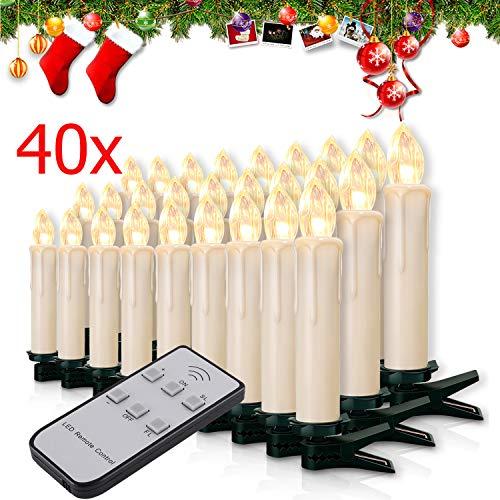Miafamily 20-60er Weinachten LED Kerzen Weihnachtsbeleuchtung Lichterkette Kerzen kabellos Weihnachtskerzen Weihnachtsbaum Kerzen mit Fernbedienung kabellos Baumkerzen(milchweisse Hülle, 40er)