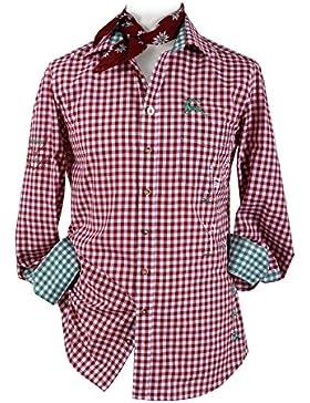 Top-Quality Trachtenhemd Herren Slim fit - Rot-Karo/kariert - Langarm/Kurzarm - Komfort Baumwolle