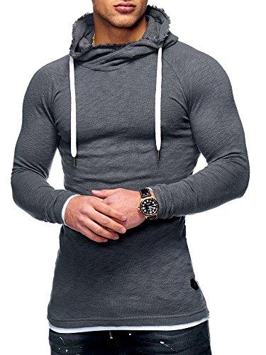 MT Styles Herren 2in1 Oversize Hoodie Pullover Kapuzenpullover Hoodie High-Neck MT-7434 [Dunkelgrau, M]
