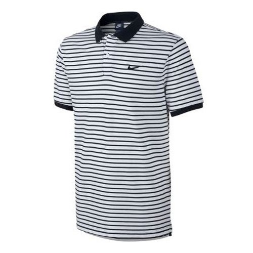 NIKE Herren Matchup Pique Mini Striped Polo-Shirt, Schwarz/Weiß, M (Mini Piqué-polo-shirt)