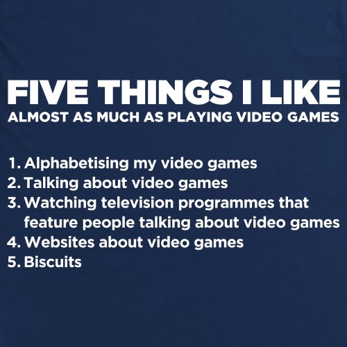 Five Things I Like - Playing Video Games T-shirt, Uomo Blu navy